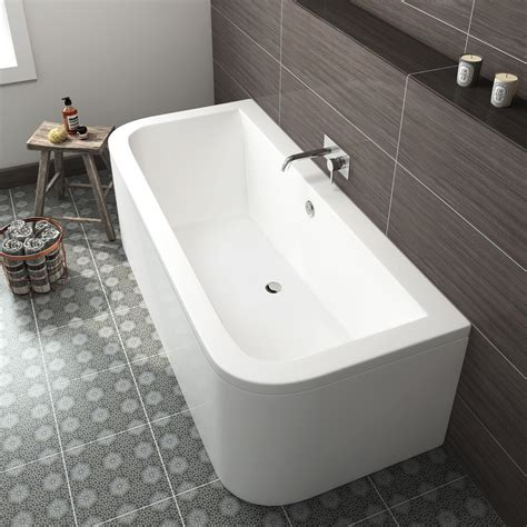bathtub and toilet backing up modern bathroom bath double ended d shape back to wall