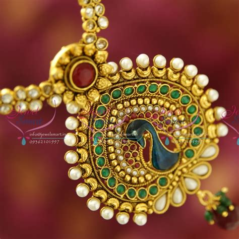 NL1921 Gold Plated Peacock Design Artificial Traditional