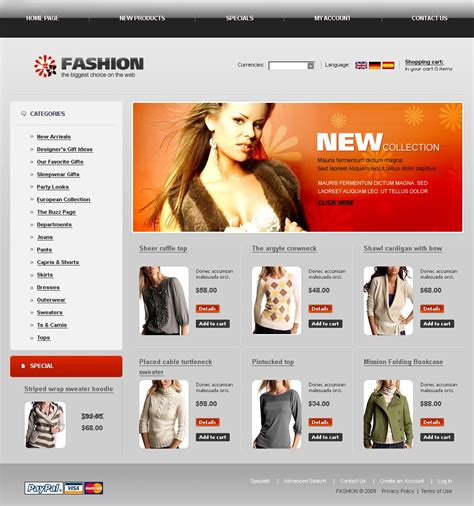 fashion shop template fashion store oscommerce template 22495