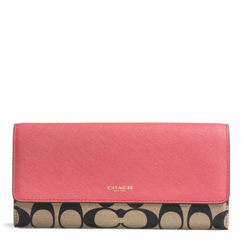 Coach Legacy Signature Cotton Slim Flap by Lyst Coach Legacy Slim Envelope Wallet With Pop Up Pouch