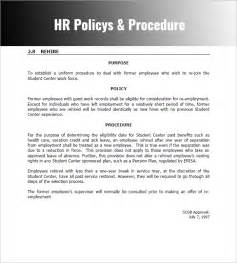 writing policies and procedures template hr policy sle policies procedures manual template
