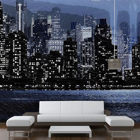 skyline wallpaper bedroom new york skyline modern wallpaper other metro by