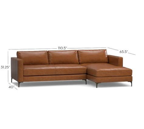 Leather Sectional Sofas With Chaise Lounge Jake Leather Sofa With Chaise Sectional Pottery Barn