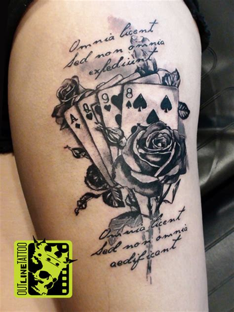 deck of cards tattoo designs outline