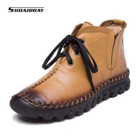Leather Shoes Handmade - boots 2017 new leather winter boots handmade lace up