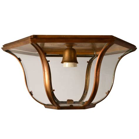 Hexagon Ceiling Light Hexagon Brass Flush Mount Ceiling Light Fixture With Bowed Glass Panels For Sale At 1stdibs