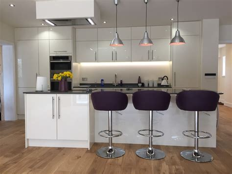 Modern Kitchen Decor Accessories High Gloss White Modern Kitchen With Island Island Lights Purple Accessories Modern