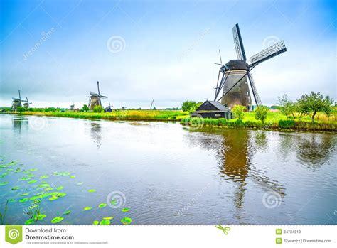 Free Landscape Design App Windmills And Canal In Kinderdijk Holland Or Netherlands