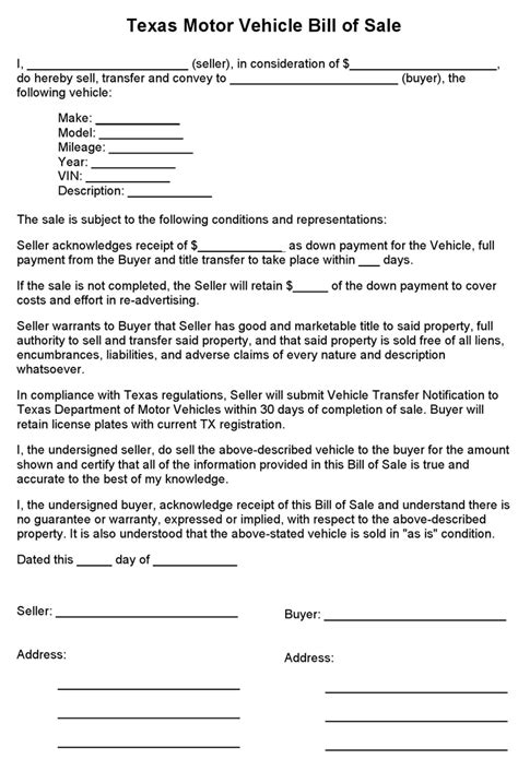 bill of sale form free download for vehicle property free