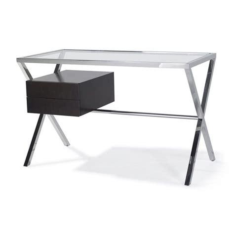 bureau verre et bois bureau inox et verre avec tiroirs bois ondine