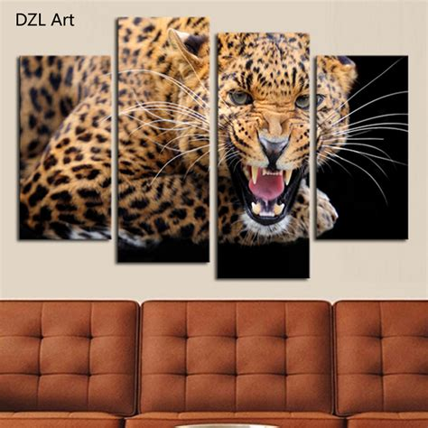 leopard decor for living room astronlabs co 4 panels no frame yellow spots leopard painting canvas