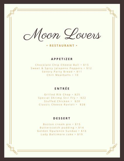 Formal Dinner Menu Template by And Blue Fancy Border Dinner Menu Templates By Canva