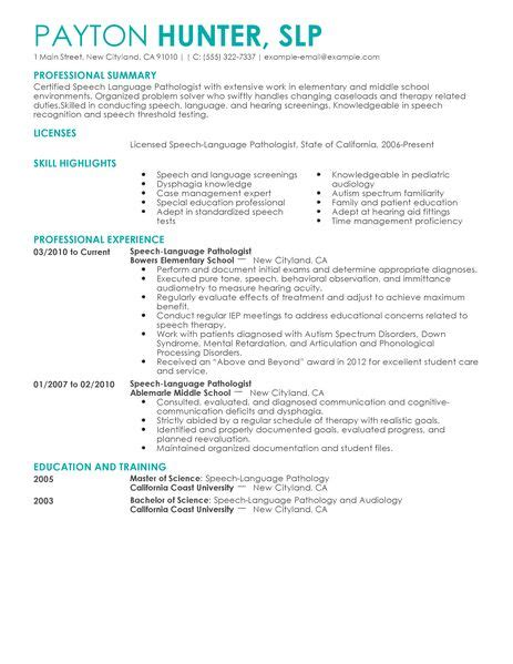 language resume speech language pathology resume cover letter we can do