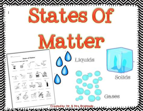 States Of Matter Worksheet by Identifying The States Of Matter