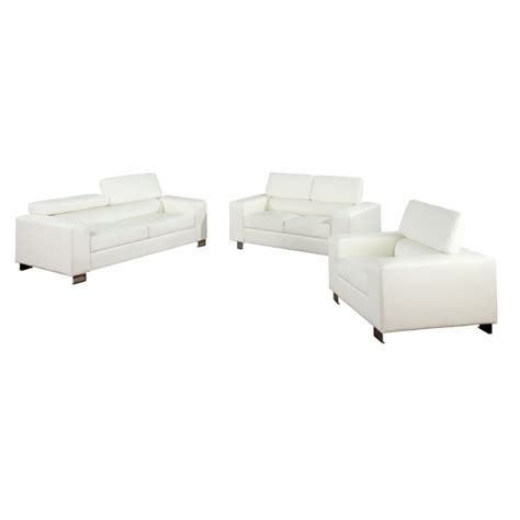 3 piece white leather sofa set furniture of america loewen 3 piece bonded leather sofa