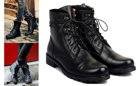 tiding genuine leather boots fashion black shoes