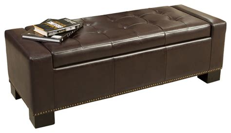 Jaxson Brown Leather Storage Ottoman W Studded Accent Studded Storage Ottoman