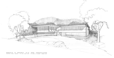 home design drawing modern mid century exterior house sketch drawing