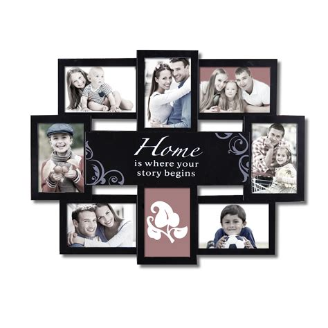 photo collage at home adeco decorative black plastic quot home quot wall hanging collage