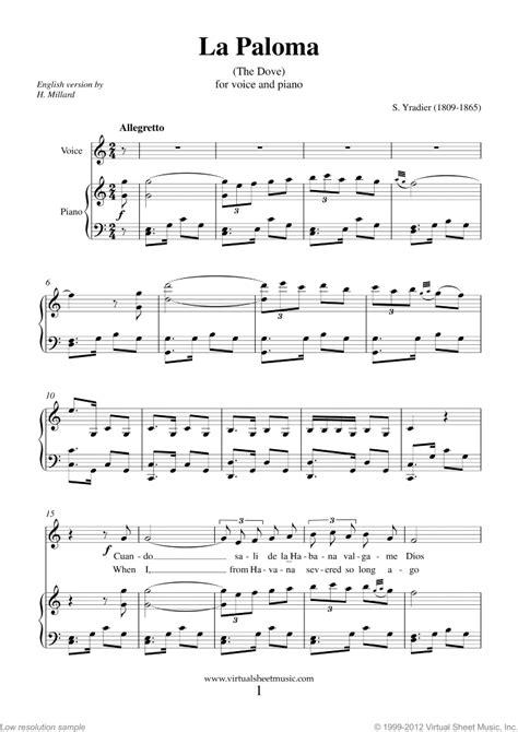 tutorial piano la paloma yradier la paloma sheet music for voice and piano