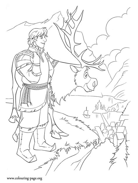 Frozen - Kristoff and Sven going to Arendelle coloring page