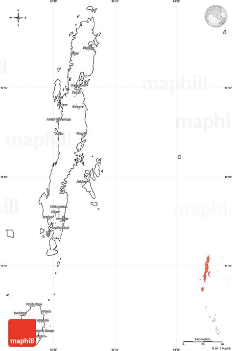 Andaman And Nicobar Outline Map by Blank Simple Map Of Andaman Islands
