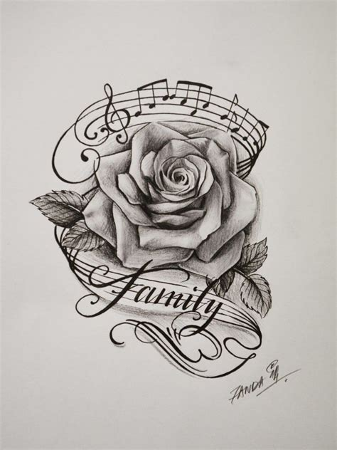 drawn tattoo family flower pencil and in color drawn