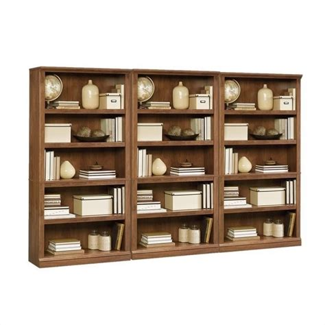 sauder bookcase oak finish 5 shelf wall bookcase in oiled oak 410367 pkg