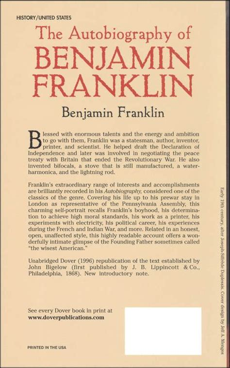 benjamin franklin biography poem autobiography of benjamin franklin 046089 details