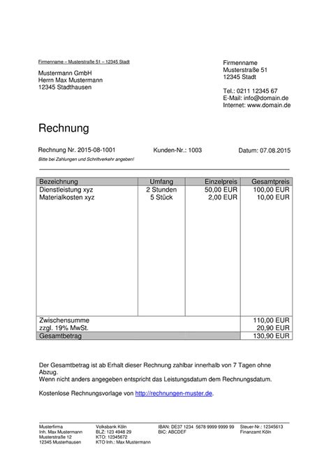 Angebot Musterschreiben Pdf Rechnungsmuster Kostenlos Rechnung Muster F 252 R Jeden Zweck