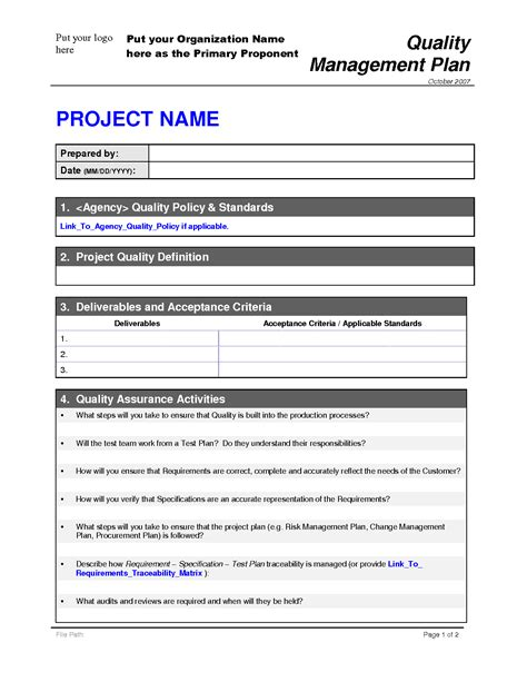 project management plan template pmbok project quality management plan template pmbok gallery