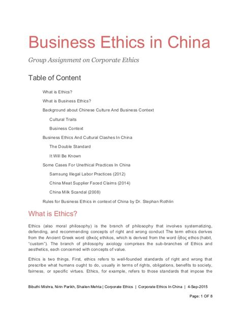 Business Ethics Syllabus Mba by Assignment On Business Ethics In China