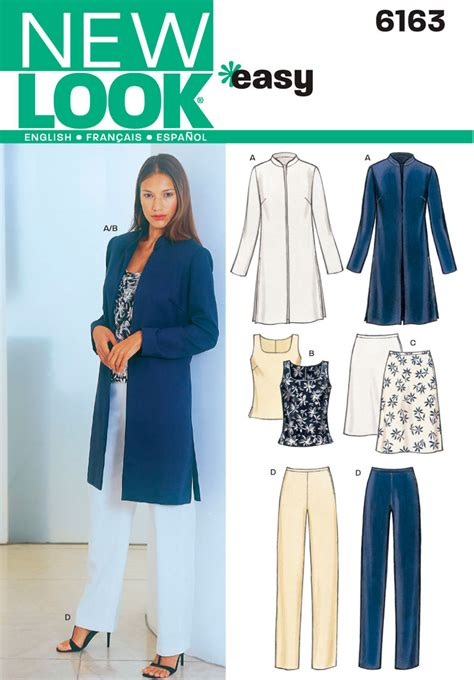 pattern lock new style womens jacket top pants sewing pattern 6163 new look