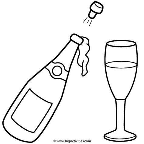 chagne bottle and glass coloring page new years