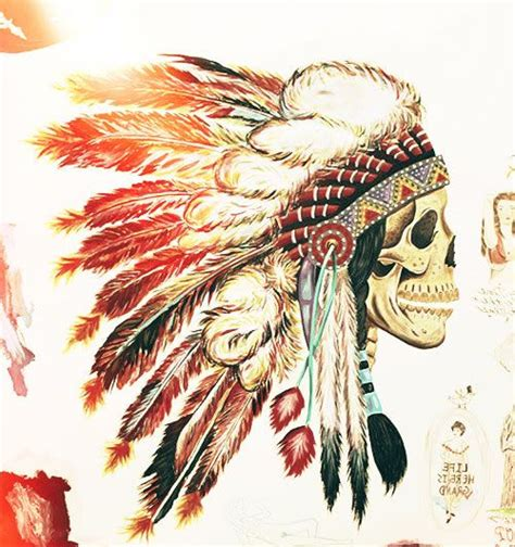 native american skull tattoos headdress indian american painting skull ideas