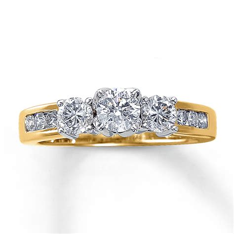 three ring 1 ct tw cut 14k