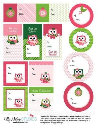 printable owl labels property of kelly christmas owls gift tags freebie