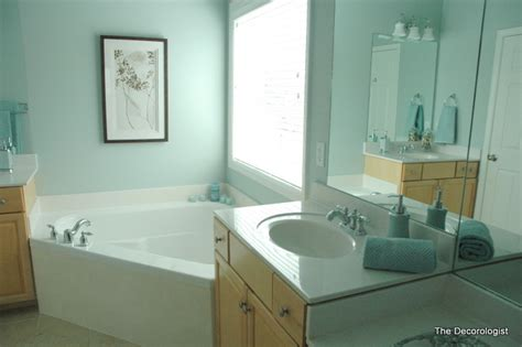 spa colors for bathroom paint turn your builder grade bathroom into a spa in one simple