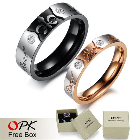 opk titanium steel and promise ring can