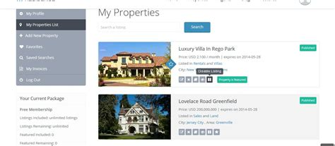 Options In User Dashboard My Properties Page Wp Residence Help Wp Residence Help Real Estate Dashboard Templates