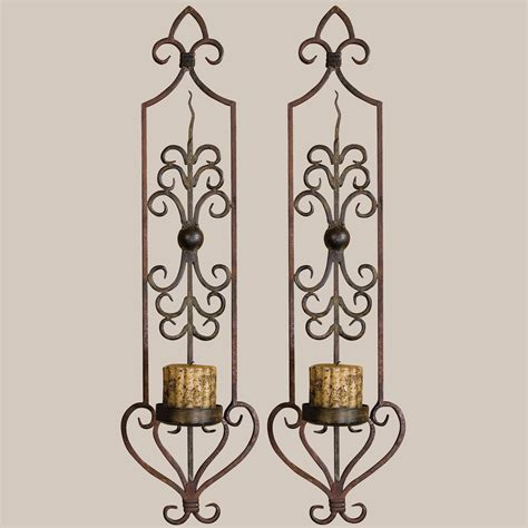 Candle Wall Sconces Privos Metal Wall Sconce Pair With Candles