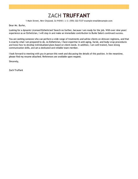 cover letter for esthetician esthetician cover letter exles salon spa fitness