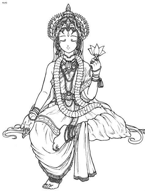 coloring pages of indian gods coloring goddess hindu goddess saraswati coloring page