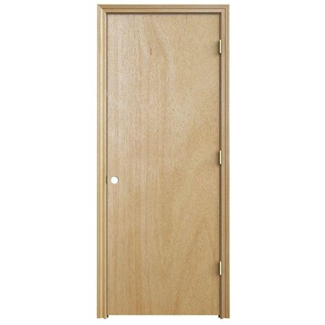 Interior Split Door Jeld Wen 30 In X 80 In Woodgrain Flush Unfinished Hardwood Split Jamb Single Prehung Interior