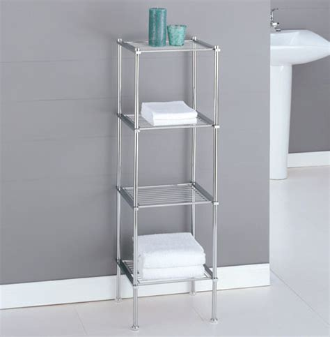 Chrome Bathroom Furniture Metro Four Tier Chrome Bath Shelf Bathroom Cabinets And Shelves Detroit By Organize It