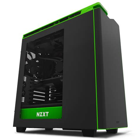 Casing Black h440 black green pc windowed mid tower gaming