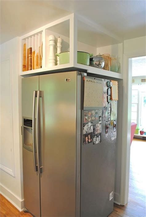 over the refrigerator cabinet ideas for using that awkward space above the fridge