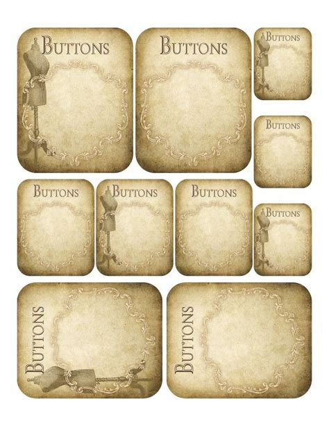 button card template vintage button card printables great for journaling