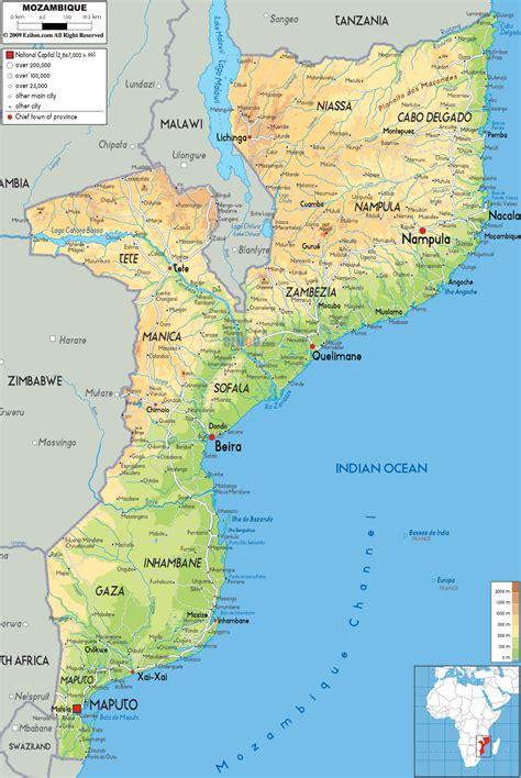 physical map of mozambique physical map of mozambique ezilon maps