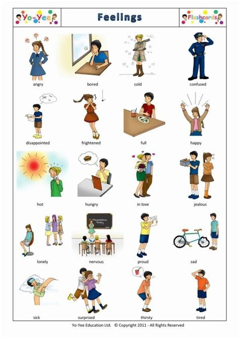 printable feelings flashcards for toddlers feelings describing people adjectives a1 vocabulary